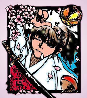"""沖田総司SCRAP ROCKETSのNanaさんから頂きましたSCRAP ROCKETSのNanaさんから送って頂いた""""さくらメール""""の画像です。皆さんとてもまめですねぇ〜。(自分が不精過ぎるだけか)切り絵っぽい雰囲気のすっごく素敵なイラストです。何だかホントに春の麗らかな中にいる沖田さんって感じがいいですぅ。"""